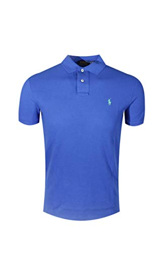 Polo Ralph Lauren Mens Custom Slim Fit Mesh Polo Shirt (XX-Large, Blue (Green Pony))