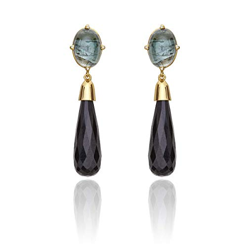 (Earrings18Kt yellow gold with green and black tourmaline and diamonds. Dainty earrings, classy earrings)