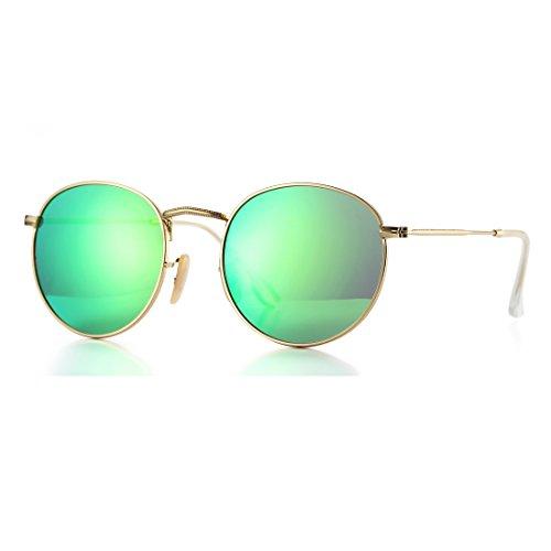 Small Round Polarized Sunglasses for Women Men Mirror Lens Sun Glasses 3447 (Gold Frame/Green Mirror Lens) ()