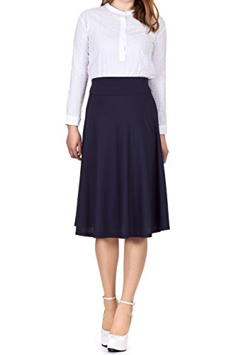 Stretch High Waist A-line Flared Long Skirt (M, Navy) by Dani's Choice