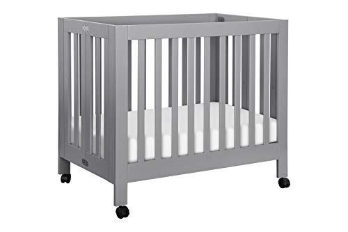 Babyletto Origami Mini Portable Crib with Wheels in Grey - 2 Adjustable Mattress Positions, Greenguard Gold