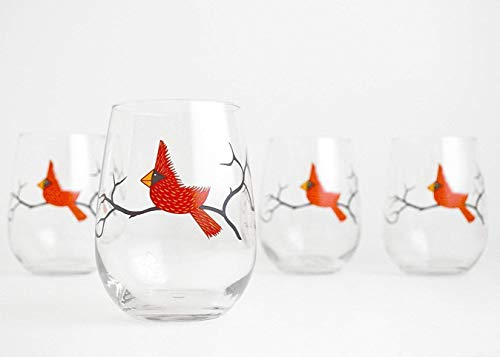 Cardinal Wine Glasses, Set of Four Stemless Christmas Glasses, Holiday Hosting, Red Bird Glassware