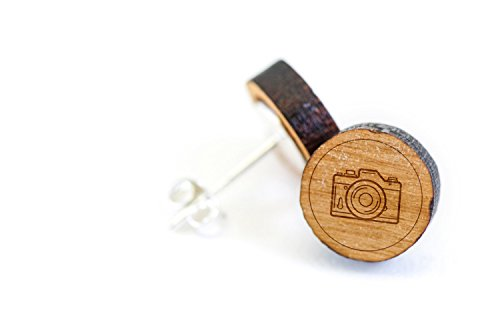 Price comparison product image Slr Camera Stud Wooden Earrings Made with Premium American Cherry Wood