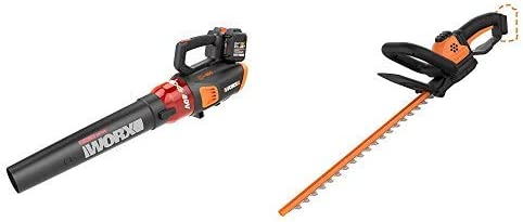WORX WG584 40V Power Share Turbine Cordless Leaf Blower with Brushless Motor 2x20V Batteries with Power Share 22-inch Cordless Hedge Trimmer