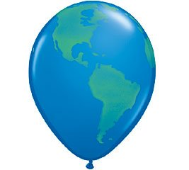 (12) Globe Earth 11 Latex Balloons World Design by Qualatex