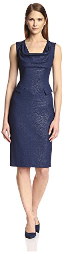 SOCIETY NEW YORK Women's Drape Neck Jacquard Dress, Navy Croco, 8 US