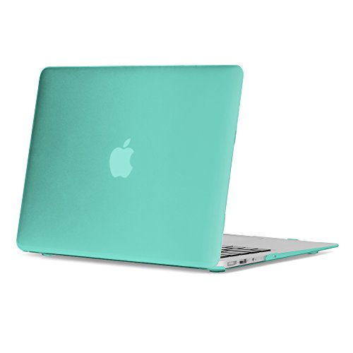 Price comparison product image GMYLE Rubber Coated Frosted Plastic Hard Shell Case Cover Print for MacBook Air 13 inch (Model: A1369 & A1466) - Teal