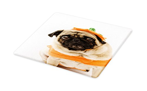 Lunarable Pumpkin Cutting Board, Pug with a Pumpkin Costume for Halloween Trick or Treat Cute Animals Photo, Decorative Tempered Glass Cutting and Serving Board, Small Size, Ivory Orange Black