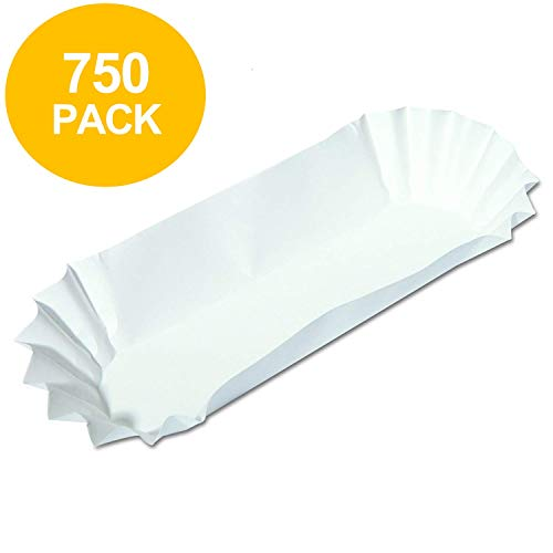 Hot Dog Holders (750 Paper Hot Dog Trays | White Hot Dog Wrappers | 8 Inch Hotdog Tray Holders | Fluted Hotdog Boats | Sturdy Hotdog)