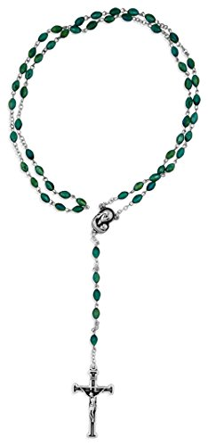 Emerald Crystal Rosary Beads (Genuine Crystal Rosary Beads with Madonna and Child Center (Emerald))