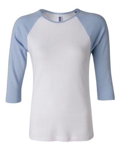 Womens Fitted Baby Rib Tee (Bella Ladies' Cotton 3/4 Contrast Raglan Sleeve Rib Tee in White/Baby Blue - XX-Large)