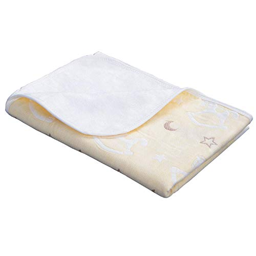 NTBAY Baby Crib Diaper Changing Pad Muslin Cotton Bamboo Fiber Breathable Waterproof Underpads Mattress Sheet Protector with Horse Pattern, Yellow, 28x 47