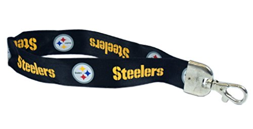 (Pro Specialties Group NFL Pittsburgh Steelers Wristlet Lanyard, Black, One Size)