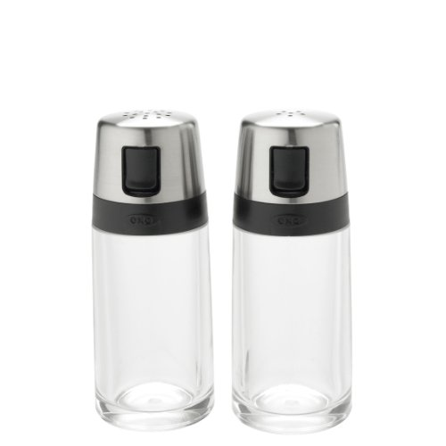 OXO 1234780 Good Grips Salt and Pepper Shaker Set with Pour Spouts, 2 oz, Clear/Silver