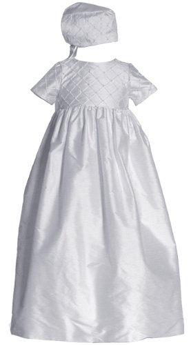 Short Sleeve Pintuck Silk Dupioni Christening Gown #C44