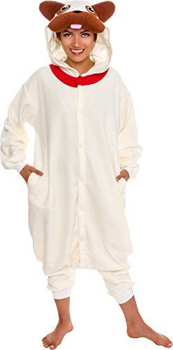 b4cfab4dfe Silver Lilly Unisex Adult Pajamas - Plush One Piece Cosplay Pug Dog Animal  Costume (L