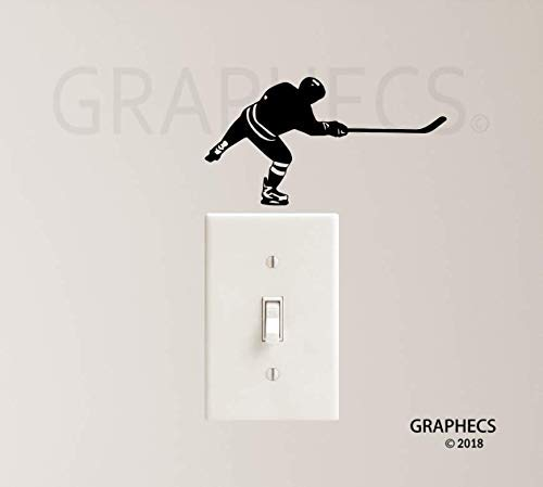 (Hockey Player Decal Vinyl Sticker Light Switch Sports Kids Home)