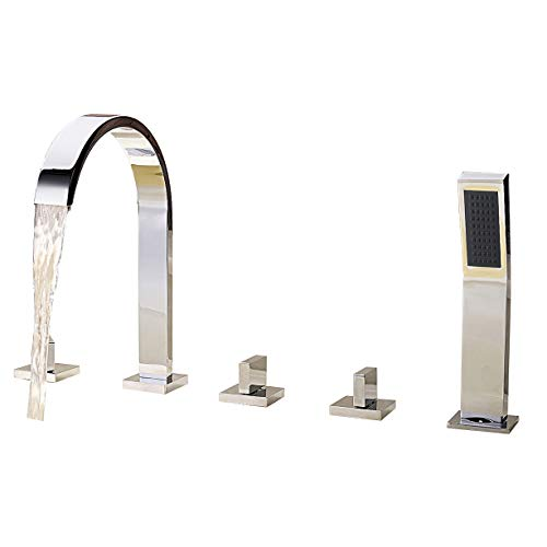 Tub Thermostatic Set Roman (Solid Brass Bath Tub Faucet with Pull Out Hand Held Shower Head Chrome Finish Three Handles Tall Curve Spout Bar Faucet Widespread Waterfall Bathroom Sink Faucets Bathtub Mixer Taps)