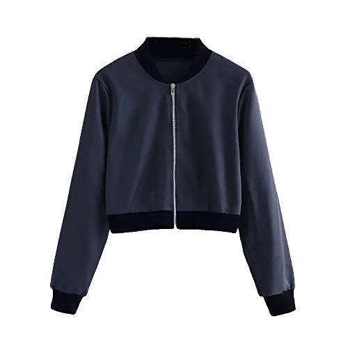 Amlaiworld Womens Jacket Long Sleeve Short Stand Collar Baseball Jersey Zip Jacket Top (Baseball Uniform Sleeveless)