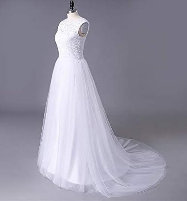 SOLOVEDRESS Damen Elegante Spitze Brautkleid eine Linie T/üll Strand Brautkleider Fl/ügel/ärmeln mit Zug