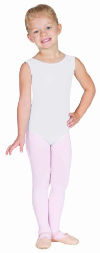 Eurotard 1089 Child Fully Lined Front Tank Leotard,White,Medium