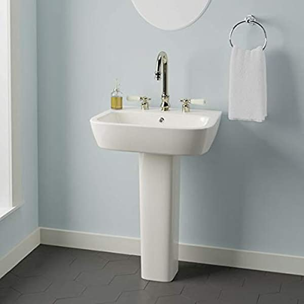 Magnus Home Products Parma 300 Vitreous China Pedestal Bathroom Sink 8 Widespread 70 0 Lb Home Kitchen