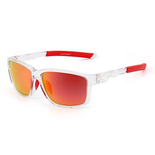 Polarizadas Deporte de Wrap Around Rojo Pesca Espejo Transparente Gafas Conducir Polarizado Sol Mujer Hombre E4tqHwnEp