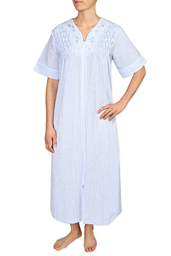Miss Elaine Petite Size Women's Long Seersucker Zipper Robe, with Short Sleeves, and Two Inset Side -