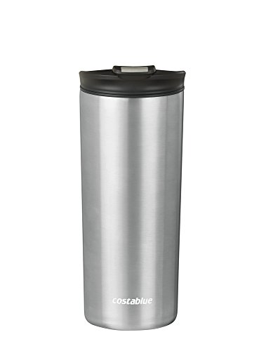 Costablue Vacuum Insulated Stainless Steel Travel mug , 16 Oz Easy to clean and leak proof lid, Color Stainless Steel