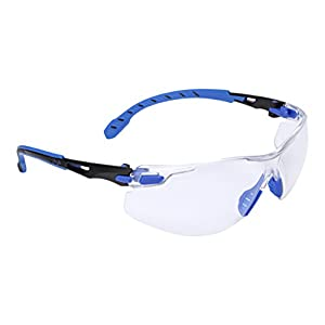 3M Solus 1000 Series Protective Eyewear with Clear Scotchgard Anti-fog Coating, One Size Fits Most, Black/Blue