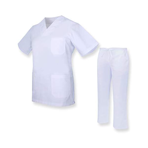 MISEMIYA Casaca Y Pantalón Unisex Uniformes Sanitarios Médicos Enfermera Dentistas Cortos de utilidades de Trabajo Adulto 2