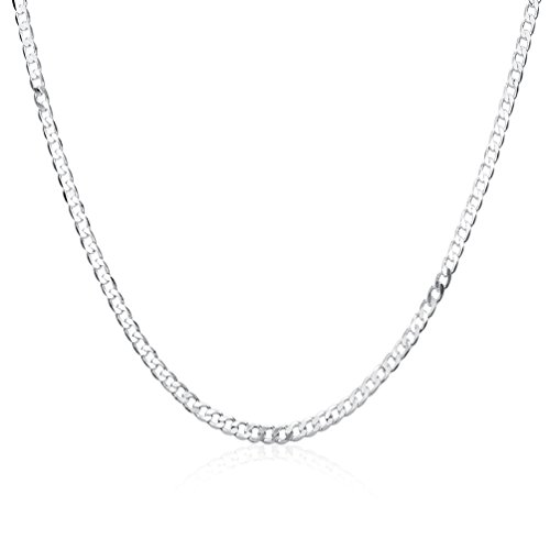 MMTTAO Sterling Silver 4MM Fine Cable Chain Italian Crafted Necklace Nickel Free Curb 925 Link Chain - Silver 4mm Sterling Cable Link