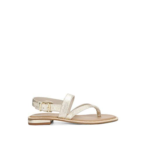 Kenneth Cole New York Women's Tama Flat Thong Sandal with Backstrap, Soft Gold, 8.5 M US