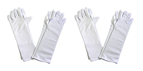 Glitz And Glamour Costumes (Girls Tea Party Stretch Polyester Long Dress Gloves Set of 4 White Childrens)