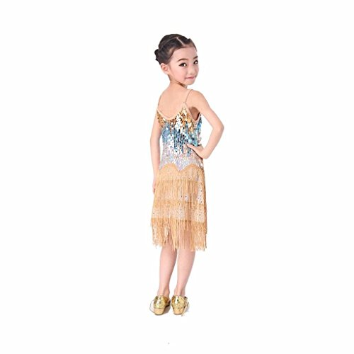 [Pilot-trade Kid's Latin Salsa Tango Ballroom Dance Dress Tassel Sequins Costume Gold] (Childrens Salsa Costumes)