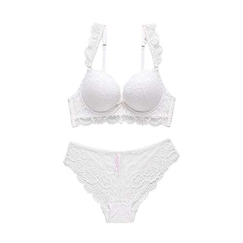 - Women's Vintage Push Up Embroidery Bras Set Lace Lingerie Bra and Panties(White,34B)