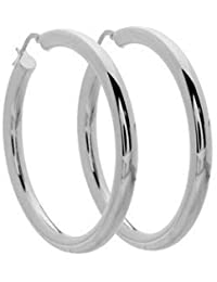 Italian Sterling Silver Large Hoop Earrings 45mm x 45mm