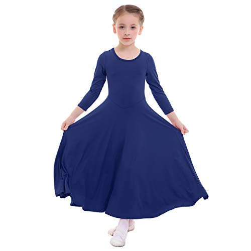 Kids Girls Cotton Long Sleeve Praise Liturgical Loose Fit Full Length Lyrical Dance Dress Ballet Dancewear Costume Stretchy Clothes O Neck Pullover High Waist Solid Robe Dresses Navy 13-14 Years -