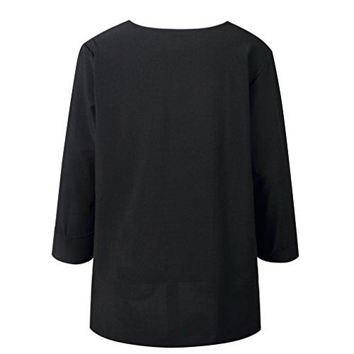 t Chemises de Les Femme Top Vrac Manche Mousseline en Bouton Solide Noir Soie Printemps Longue Blouses OP0xPE