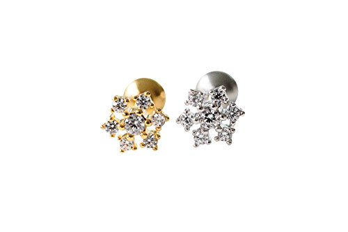 Crystal Helix (16g Body jewelry cartilage ear studs cute cool earring tragus helix barbell for women teens girls men CZ cubic zirconia crystal flower snowflake piercing-LI)
