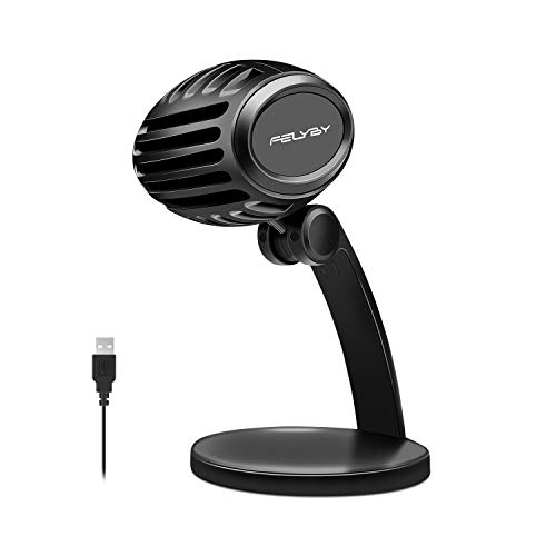USB Studio Recording Microphone, FELYBY Condenser Broadcast Microphone w/Stand Built-in Sound Card Echo Recording Karaoke Singing for iPhone Phone Windows Smule Live Stream & Youtube (Black)