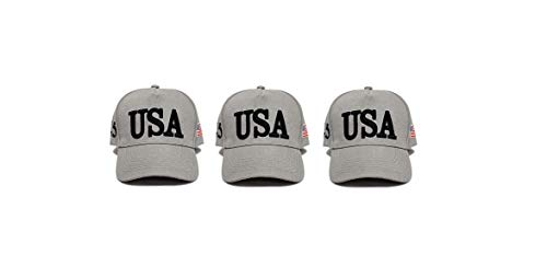 Cotton Confederate Flags - Ezone Make America Great Again Hat [3 Pack], Donald Trump USA MAGA Cap Adjustable Baseball Hat (USA Grey)