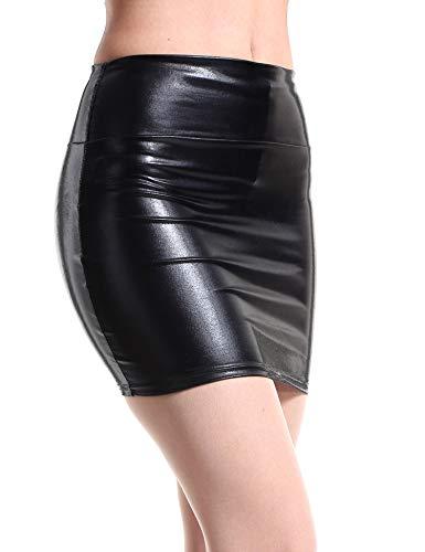 Jollymoda Women's Shiny Metallic Liquid Wet Look Mini Skirt (Black, US Size 2)
