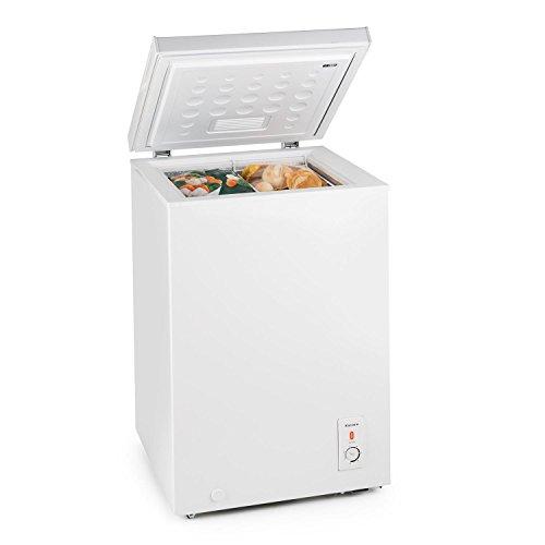 Klarstein Iceblokk 100L Gefriertruhe Gefrierschrank (100 L, Tiefkühltemperatur zwischen -15 und -26 °C, Bodenrollen, 75W) weiß