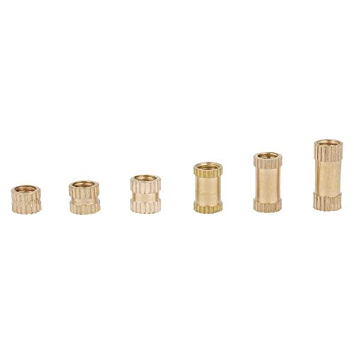 Ochoos M4 Brass Cylinder Knurled Round Molded-in Insert Embedded Nuts helical Screw
