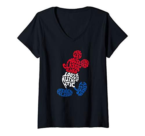Womens Disney Mickey Mouse Americana Text  V-Neck T-Shirt