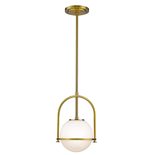 Modern Pendant Lights, LMS 1-Light Hanging Light Fixture,Brushed Brass Finished with White Globe Glass - Fixture Brass Pendant Light