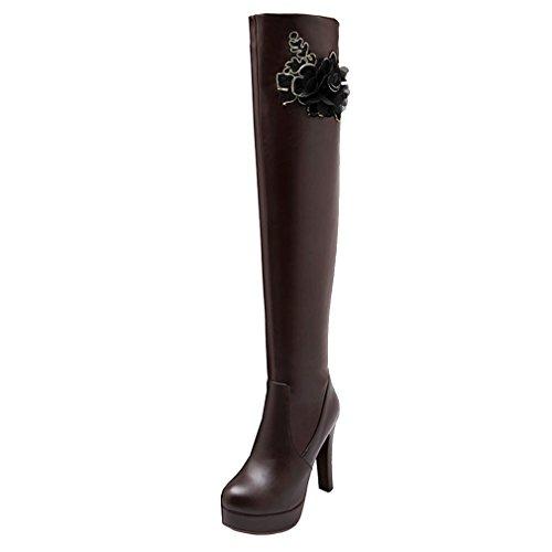 5e1d1db5a0cb YE Damen Spitze High Heels Plateau Overknee Langschaft Stiefel mit Blumen  Blockabsatz Kniehohe 10cm Absatz Elegant