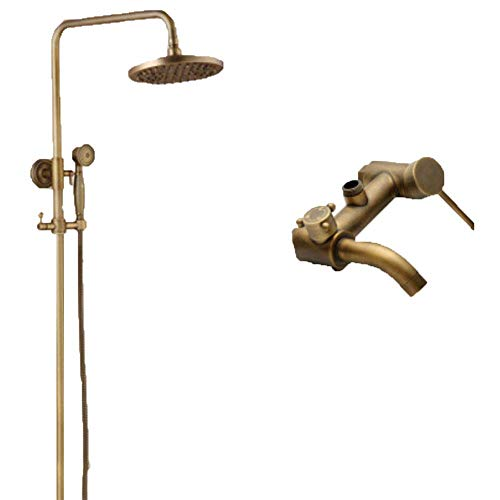 WANNA.ME Shower System Thermostatic, Bar Shower Valve Rainfall Shower Mixer Tap Set Tub Spout Dual Cross Handles with Handheld Head,Handheld Shower Bracket Height and Angle Adjustable