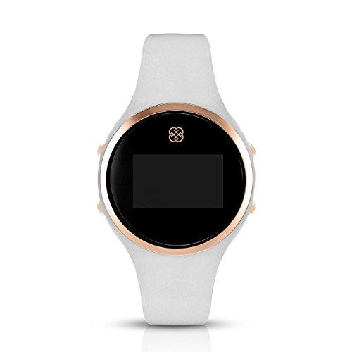 Daisy Fuentes Digital reloj de pulsera para mujer, banda de silicona, color blanco y oro rosa cara: Amazon.es: Relojes
